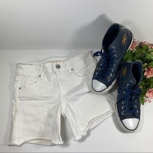 American Eagle Outfitters White Midi Rise Shorts